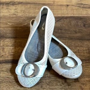 White flats. Silver buckle